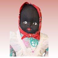 7 inch Black Cloth Half Doll Vintage circa 1950s