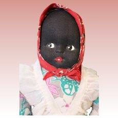 7 inch Black Cloth Half Doll Vintage circa 1950s