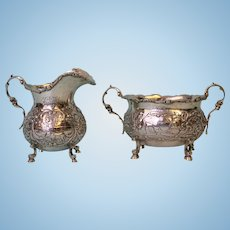 800 Silver Cream And Sugar set marked with a 13 and a squiggly S