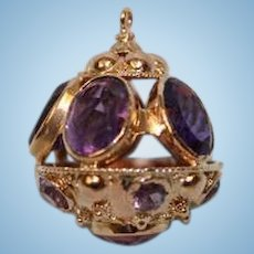 Antique 14K Gold Sphere Shaped Large Charm with Oval Cut Amethysts