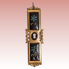 3-3/4 inch Large bar pin with turquoise & real pearls Cameo in center black back