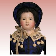 22 inch Antique Early Papier Mache Lady Doll Glass eyes Kid fashion Body AWESOME