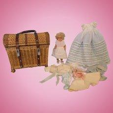 8.5 Inch Antique Sleep Eyes Wax Doll in Fabulous Basket and Wardrobe