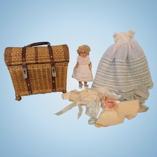 8.5 Inch Antique Sleep Eyes Wax Doll in Fabulous Basket and Wardrobe
