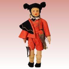 8 inch Lenci Mascotte Matador Bull Fighter Doll Black Cloth Tag Clean Condition