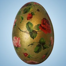 Large German Papier Mache Egg Perfect to Display Antique Doll In Floral Gold