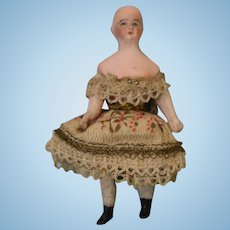 3 Inch Antique Miniature All Bisque Dollhouse Doll for Spinning Top circa 1900