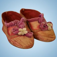 Adorable Antique Doll Shoes for German or French Doll Fuchsia Pink