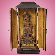 Antique Japanese Miniature Carved Wood Gilt Lacquer Zushi Shrine w Buddha 1800s
