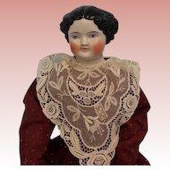 "Early 22"" Kestner 1860's China Head Doll Deep Shoulderplate Nice Example"