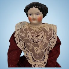 "Early 22"" Kestner 1860's China Head Doll Deep Shoulderplate Nice Example"