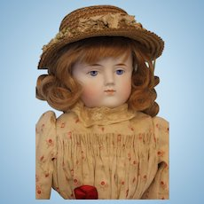 21 Inch Antique Parian bisque doll ABG Germany Antique cloth body Antique dress and hat