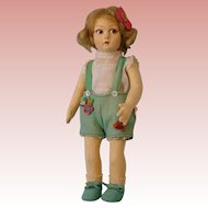 "14 Inch Italian Felt Lenci Cloth doll, rare series 900 ""Floppy leg"" model circa 1929"