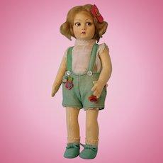 "14 Inch Italian Felt Lenci Cloth doll, rare series 900 ""Floppy leg"" model circa 1929"