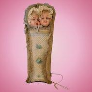 "9-1/2 Inch Antique wax dolls bunting ''Jean Qui Rit"" and ''Jean Qui Pleure"""