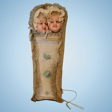"9-1/2 Inch Antique wax dolls bunting ''Jean Qui Rit"" and ''Jean Qui Pleure"""