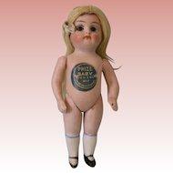 """Antique 4 Inch Hertel Schwab & Co """"Prize Baby"""" Doll All Bisque Original Label"""