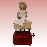 "19"" French Tete Jumeau Musical Automaton Doll ""Housekeeper at the Laundry Table"" 1890"