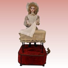 """19"""" French Tete Jumeau Musical Automaton Doll """"Housekeeper at the Laundry Table"""" 1890"""