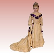 "34"" tall Antique French Fashion Jumeau Countess Doll with Antique Crown on Stamped Jumeau body circa 1872"