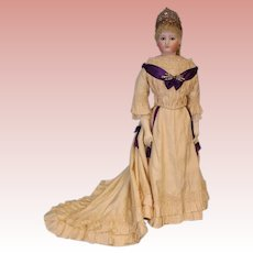 """34"""" tall Antique French Fashion Jumeau Countess Doll with Antique Crown on Stamped Jumeau body circa 1872"""
