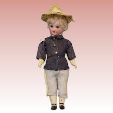 """6.5"""" All Original Antique Soldier Boy doll bisque head 5 piece Papier Mache Body"""