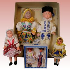 Vintage Lot of 6 Vintage Czechoslovakian Dolls all in folk costumes and original box