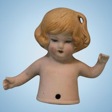 2.25 Inch Bisque Antique Half Doll Blond Hair Arms Away Germany D 335 Pincushion