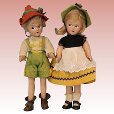 "Two 9 Inch Tagged c.1930's Madame Alexander ""Swiss"" Brother/Sister Little Betty Face"