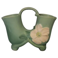 1935 Weller Pottery Molded Mark Wild Rose Matte Aqua Green Double Vase WithHandle