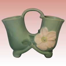 1935 Weller Pottery Molded Mark Wild Rose Matte Aqua Green Double Vase WithHandle
