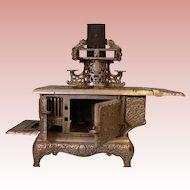 Salesman's sample wood burning KENTON Stove For Doll Globe Cast Iron stove NICKEL