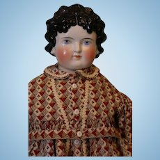 22 Inch Antique ABG China Head Doll Molded Bow and Ribbon in Hair Antique dress