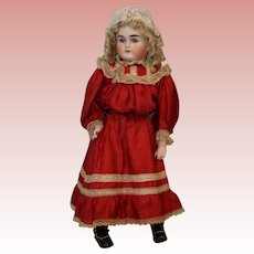 21 inch Turned Head German Bisque ABG Doll Marked 10 circa 1880 Antique Dress