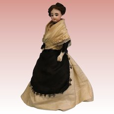 Antique 17 Inch French Fashion Bisque Doll FG Size 2 with Leather & Cloth Body