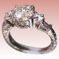 Lady's Platinum & Diamond Ring 1.75 Center diamond + more diamonds Hand Chased