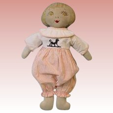 Vintage 1940s 12 Inch Cloth child doll Embroidered Features Adorable!