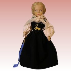 "Antique 17.5"" Lenci Italian felt Doll Series 300 UFDC Blue Ribbon Winner Clean"