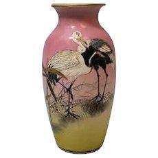 Antique Japanese 6 inch Vase Pink & Black Enamel Cranes