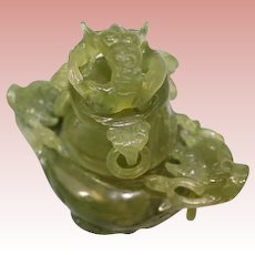 4 inch Carved Jadeite or Nephrite 3 legged Stone Urn Lion's Claw Feet Carved Animals