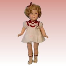 18 inch Ideal Shirley Temple Doll 1935 Wearing Poor Little Rich Girl Dress Compo