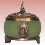 Antique 3.5 inch Japanese Export Green Stone Jar w/ Filigree Lid Oriental Hallmarks