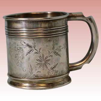 Antique Sterling Silver Baby Cup with Foliage Design c.1900