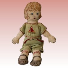 "15"" Cloth Doll 1926 Hand Embroidered on muslin from a kit Cute romper outfit"