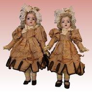 RARE Antique 16 inch PAIR of Bebe Bru Dolls in Papier Mache c.1890