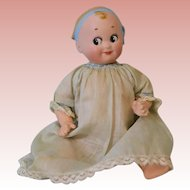 "Antique 7"" Goebel Googly Doll with Molded Blue Bow Headband German c.1916"