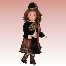 "10"" Antique Gebruder Heubach 1246 pouty Character w. All Orig Scots costume Doll"