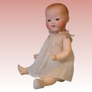 13.5 inch Antique Kiddy Joy German bisque head baby Original gown w ribbon trim