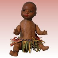 Antique 6 inch Heubach Koppelsdorf Bisque Doll South Seas Black baby Grass skirt