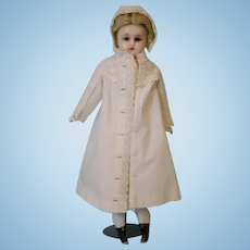 """Antique German 16"""" reinforced Wax doll Blue glass eyes glorious coat and dress"""